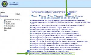 FAA SCRNSHT 3 search by PMA holder